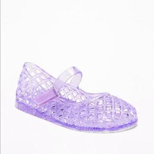 Basket Weave Jelly Ballet Purple Glitter Flats 7